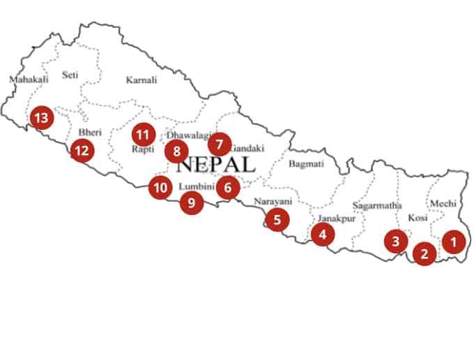 Nepal Hospitals map